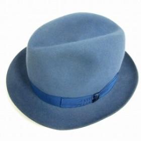 【中古】ボルサリーノ Borsalino ハット 中折れ フェルト ラビット 牛革 リボン 帽子 60 青 /MF メンズ