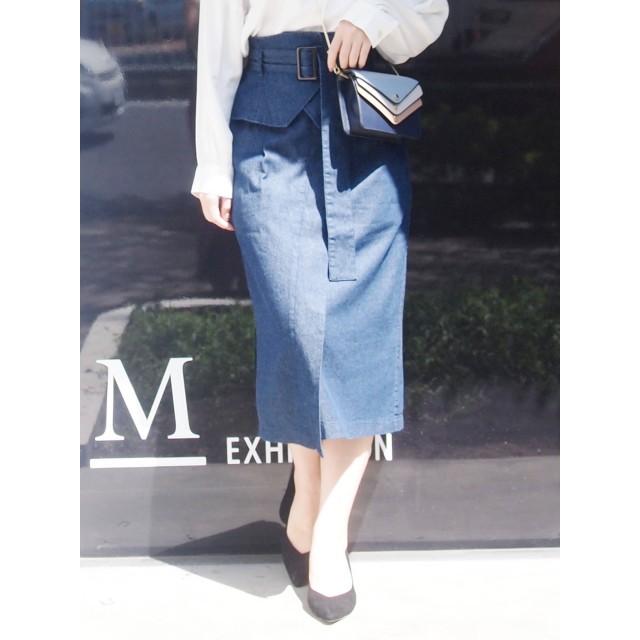 MERCURYDUO コルセットベルト付デニムタイトスカート
