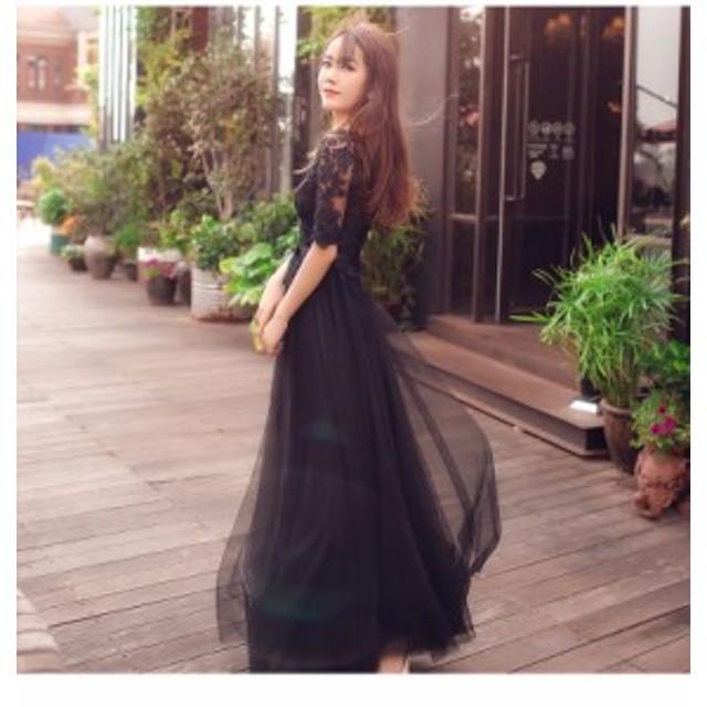 レース ドレス 袖あり ひざ丈 ロング 花柄 結婚式 お呼ばれ ワンピース 結婚式 韓国 20代 30代 40代 大きいサイズ レトロ