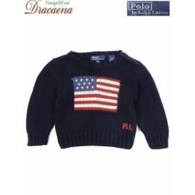 28c0d29d4a413 古着 キッズ Polo Ralph Lauren ラルフ RL 星条旗 コットン ニット セーター 紺 3歳位 古着