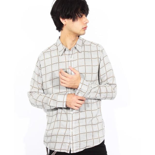 シャツ - 8(eight) 総柄シャツ メンズ 長袖シャツ全4色 新作 シャツペイズリー 総柄シャツ 幾何学シャツブラック ネイビー シャツ M Lアメカジ系ストリート系 に♪ 8(eight) エイト 8