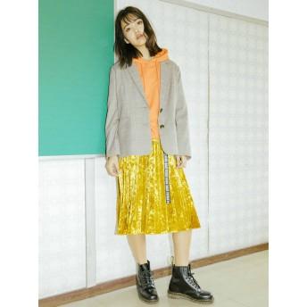 【5,000円以上お買物で送料無料】クラッシュベロアプリーツスカート
