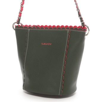 サボイ SAVOY バイカラーハンドバッグ(グリーン)