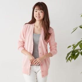 洗濯できるやや長め丈のウール混カーディガン【S〜LL】 「ピンク」
