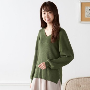 ニット セーター レディース 大人の女性のためのきれいめお袖ふんわりニット グリーン