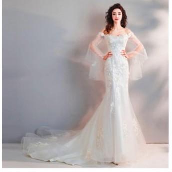トレーン オフショルダー フェミニン ウェディングドレス パーティー ロングドレス フォーマルドレス 優雅 結婚式 マーメイド 編み上げ