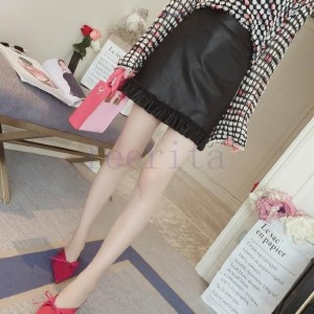 ムスボ台形スカーミニスカースカーレディース大きいサイズタイフェイクファーPUスカー卸売店レザースカート