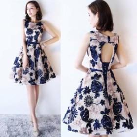 ワンピースドレス 大きいサイズ レディース ワンピース  華やか+鮮やかな刺繍&ノースリーブ+ウエストリボン+パーティー/3色 us-0259