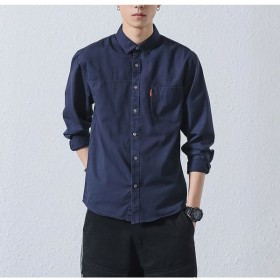 シャツ 長袖シャツ カジュアルシャツ メンズ 男性 トップス スタンダードカラー 無地 シンプル ポケット 左胸ポケット 単色 ワンカラー 色付きシャ