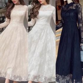 パーティードレス 長袖 パーティードレス 長袖 レース 袖あり 結婚式 ドレス ワンピース 大きい ロング ミモレ丈 結婚式ドレス fe-1030