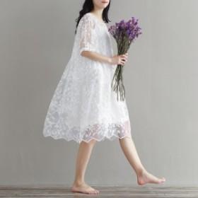 ワンピース ホワイト ウエディングドレス パーティードレス 膝丈 レース 刺繍花柄 Aライン 花嫁 二次会 結婚式 送料無料
