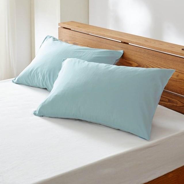 ベルメゾンデイズ 先染め綿100%の枕カバー2枚セット 「ブルー」