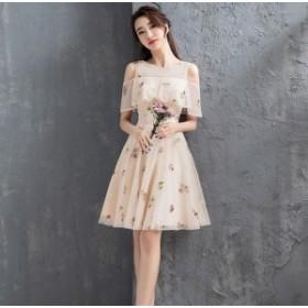 半袖 ドレス 二次会 ドレス 半袖 花嫁 二次会 ドレス 半袖 結婚式 パーティードレス ワンピース 袖あり 結婚式ドレス un-0053