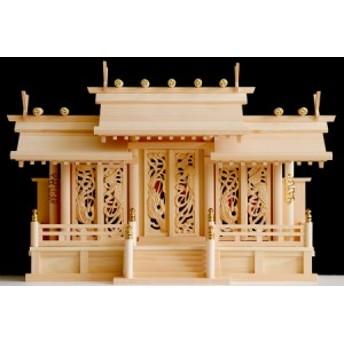 美・木曽ひのき■ 屋根違い 三社 ■鳳凰の彫刻に赤御簾 ■ 神棚