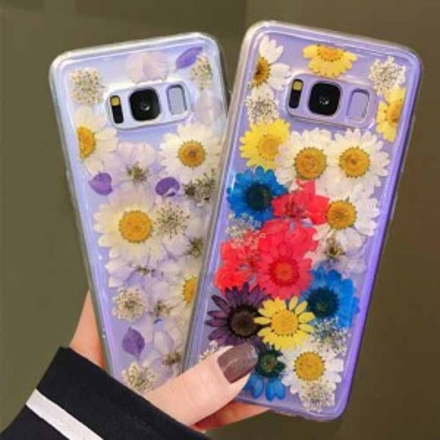Galaxy押し花風フラワーキレイなスマホケースギャラクシーS8/S9/plus/note8