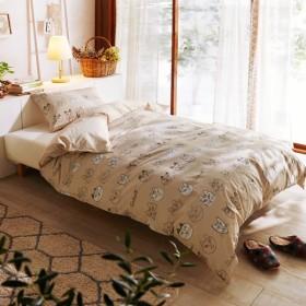 布団カバー 布団カバーセット  巾着袋付・綿100%の布団カバー2点セット スケッチキャット