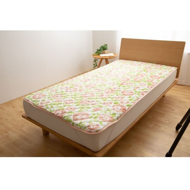 布団カバー シーツ 敷きパッド パッドシーツ  花柄のプレミアムマイクロファイバー敷きパッド ピンク系 シングル