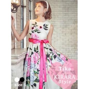 Tika ティカ ロングリボン3Dローズミディ丈ドレス (ホワイト/ブラック) (Sサイズ/Mサイズ/Lサイズ) キャバ ドレス キャバクラ キャバドレ