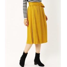 COMME CA ISM / コムサイズム ベルト付き スエード プリーツスカート