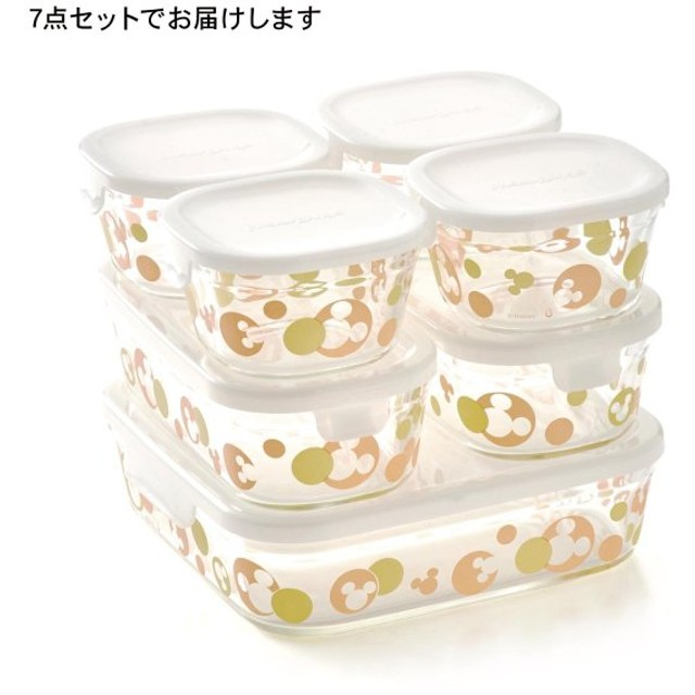 保存容器 ディズニー IWAKI イワキ ガラス 7点セット 冷凍 冷蔵 食洗機可 レンジ オーブン