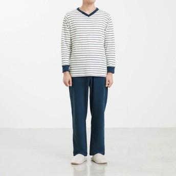 パジャマ ルームウェア メンズ ベルメゾンデイズ やわらか新疆綿100%長袖パジャマ(メンズ) 「ネイビー×オフホワイト」