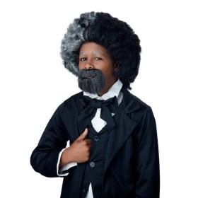 政治家 ウィッグ、かつら アフロ グレー ブラック ひげセット 子供用 FREDERICK DOUGLASS WIG & GOAT