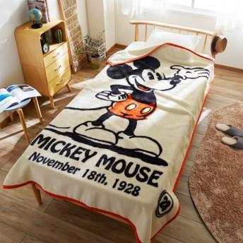毛布 ディズニー レトロデザインのニューマイヤー毛布 ミッキーマウス