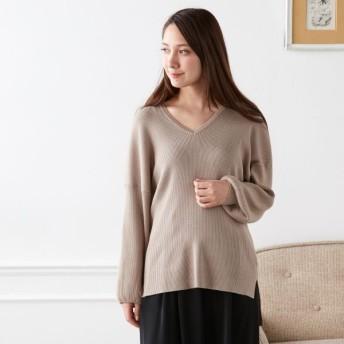 ニット セーター レディース 大人の女性のためのきれいめお袖ふんわりニット グレージュ