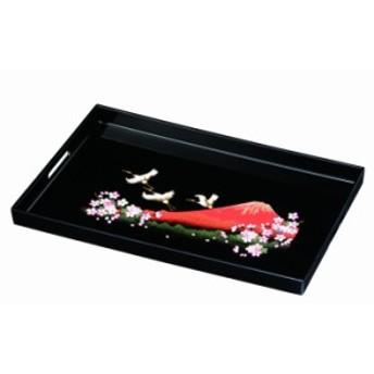 長手盆 PC 45cm 一富士二鶴三桜 日本製 トレイ お盆 盆 業務用 家庭用 23-30-8