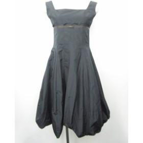【中古】フォクシー FOXEY バルーンワンピース ドレス リボン 装飾 ノースリーブ 黒 ブラック 38 IBS 0824 レディース