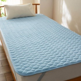 ベルメゾンデイズ オーガニックコットンのパイル敷きパッド 「ブルー」