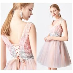 結婚式のお呼ばれ40代 結婚式のお呼ばれ30代 結婚式 ドレス お呼ばれ ワンピース 20代 スパンコール 編み上げ パーティードレス フレアス