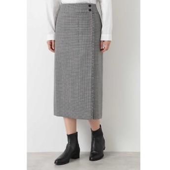 HUMAN WOMAN / ヒューマンウーマン ◆ウールチェックグミ加工ストレートスカート