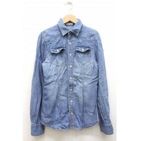 ロペピクニック ROPE Picnic シャンブレーシャツ カットソー 胸ポケット 無地 シンプル スタンダードカラー 長袖 38 ブルー 青