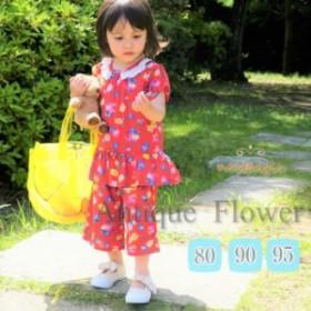 花柄ジョーゼット6分丈ワイドパンツ ボトムス キッズ 女の子 パンツ ワイド ハーフパンツ 花柄 80cm 90cm 95cm
