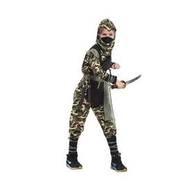 コスプレ 忍者 子供用 キッズ 衣装 ハロウィン 仮装 迷彩柄 タトゥーシール付き (L)