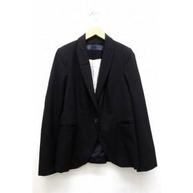 ザラ ベーシック ZARA BASIC テーラード ジャケット ブルゾン アウター ブレザー 1B センターベント 背抜き 長袖 38 ブラック 黒
