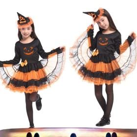 ハロウィン 仮装 子供 かぼちゃ 魔女 ウィッチ コスプレ 着ぐるみ 職業仮装 変装 コスチューム キッズ用 ワンピース ドレス 女の子 G-0188