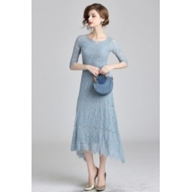 大人気 パーティードレス 結婚式 ワンピース ドレス 大きいサイズ 半袖ドレス ロングドレス ミモレ丈 アシンメトリードレス レディース