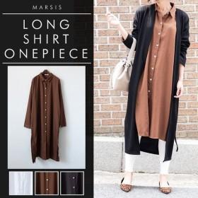 シャツ レディース ロングシャツ ロング丈 サイドスリット シャツワンピース (11) 韓国 ファッション