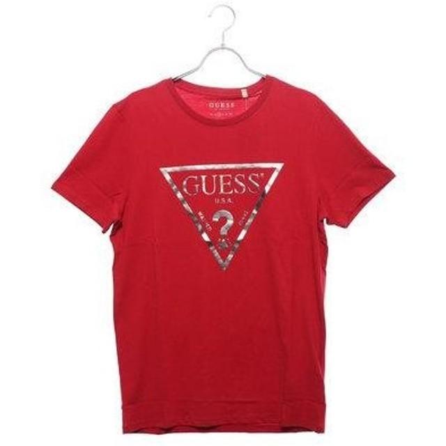 ゲス GUESS CLASSIC FOILED TRIANGLE LOGO TEE (CHILI RED)