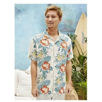 【Kahiko】ハイビスカス&パイナップル柄メンズアロハシャツ オフホワイト