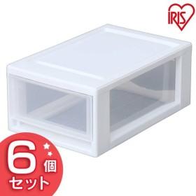 チェスト プラスチック 透明 一段 収納 衣服 BCE-335×6 ホワイト/クリア (6個セット) アイリスオーヤマ あすつく