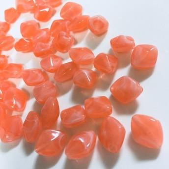 ひし形マーブルパーツ10個☆ピーチオレンジ