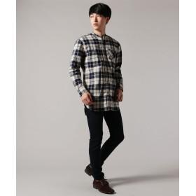 シャツ - SPUTNICKS メンズ ロングシャツ メンズファッション フランネル チェック バンドカラー ロング シャツ Upscape Audienceオーディエンス 日本製 ネルシャツ