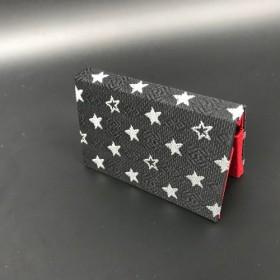 博多織 星柄献上オリジナルBOX型名刺入れ おしゃれ グレー 黒/白 定番人気 スター