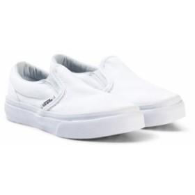 ヴァンズ スニーカー シューズ 靴 キッズ 女の子【Vans White Slip On Shoes】