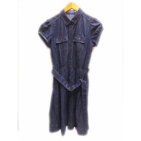 【中古】ブルーレーベルクレストブリッジ BLUE LABEL CRESTBRIDGE デニム シャツ ワンピース38 レディース