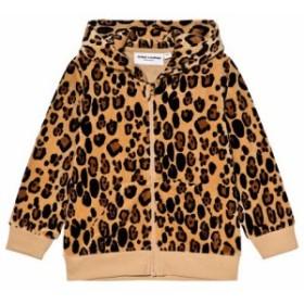 パーカー トレーナー キッズ 女の子【Mini Rodini Beige Leopard Print Velour Zip Hoodie】