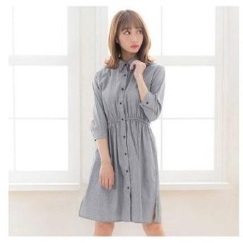 ユメテンボウ 夢展望 選べるチェックシャツワンピース (ブラックグレンチェック衿付き)